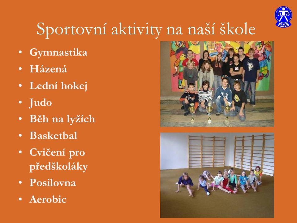 Gymnastika Házená Lední hokej Judo Běh na lyžích Basketbal Cvičení pro předškoláky Posilovna Aerobic Sportovní aktivity na naší škole