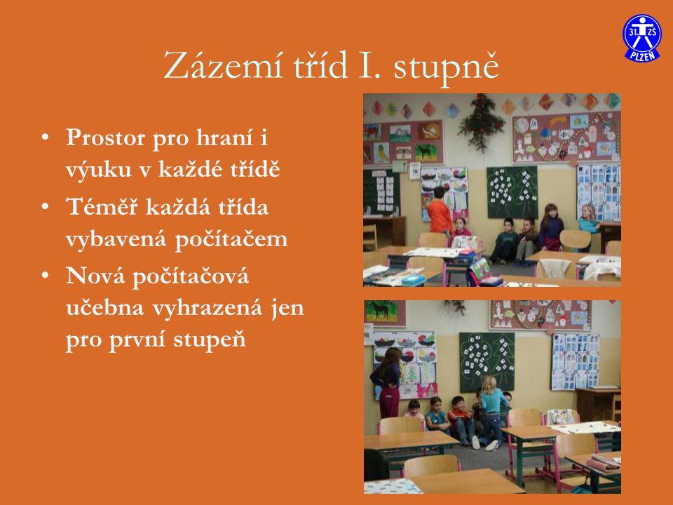 Prostor pro hraní i výuku v každé třídě Téměř každá třída vybavená počítačem Nová počítačová učebna vyhrazená jen pro první stupeň Zázemí tříd I.