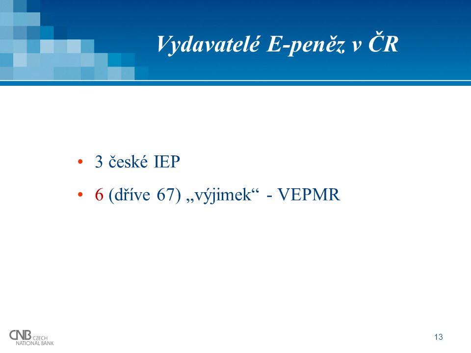 """13 Vydavatelé E-peněz v ČR 3 české IEP 6 (dříve 67) """"výjimek - VEPMR"""