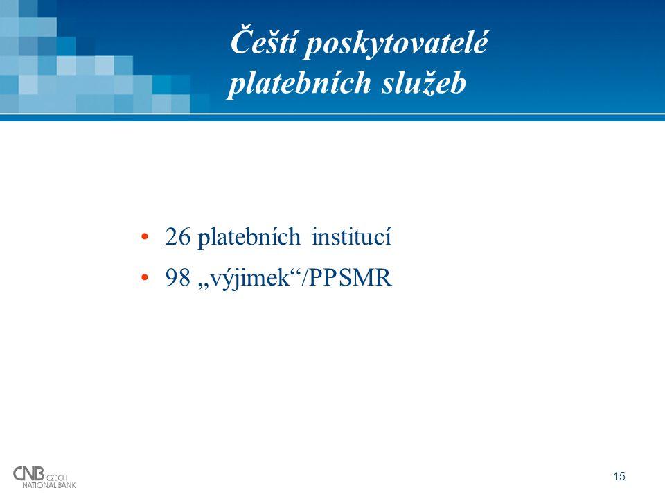 """15 Čeští poskytovatelé platebních služeb 26 platebních institucí 98 """"výjimek /PPSMR"""