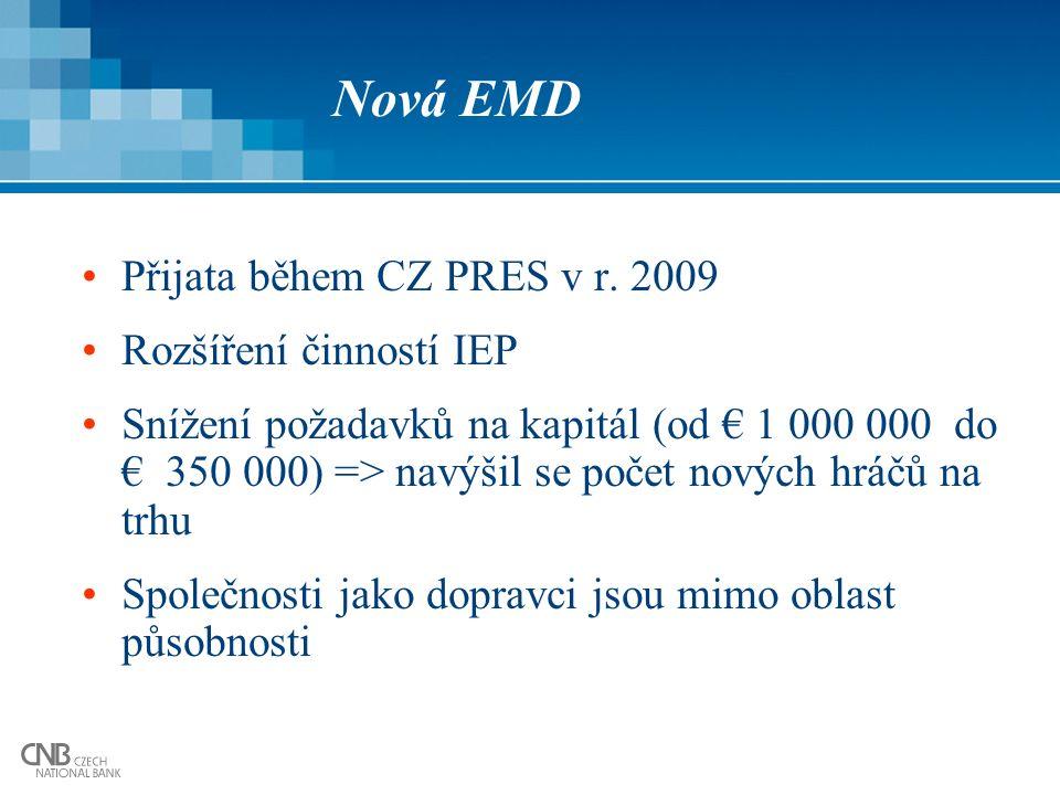 Nová EMD Přijata během CZ PRES v r. 2009 Rozšíření činností IEP Snížení požadavků na kapitál (od € 1 000 000 do € 350 000) => navýšil se počet nových