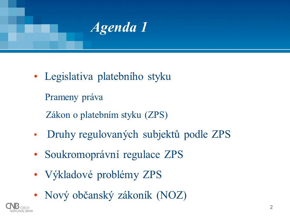2 Agenda 1 Legislativa platebního styku Prameny práva Zákon o platebním styku (ZPS) Druhy regulovaných subjektů podle ZPS Soukromoprávní regulace ZPS Výkladové problémy ZPS Nový občanský zákoník (NOZ)
