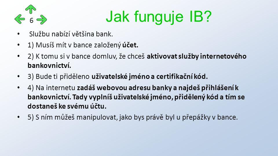 Službu nabízí většina bank.1) Musíš mít v bance založený účet.