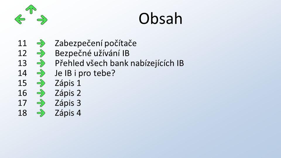 Obsah Zabezpečení počítače11 Bezpečné užívání IB12 Přehled všech bank nabízejících IB13 Je IB i pro tebe 14 Zápis 115 Zápis 216 Zápis 317 Zápis 418