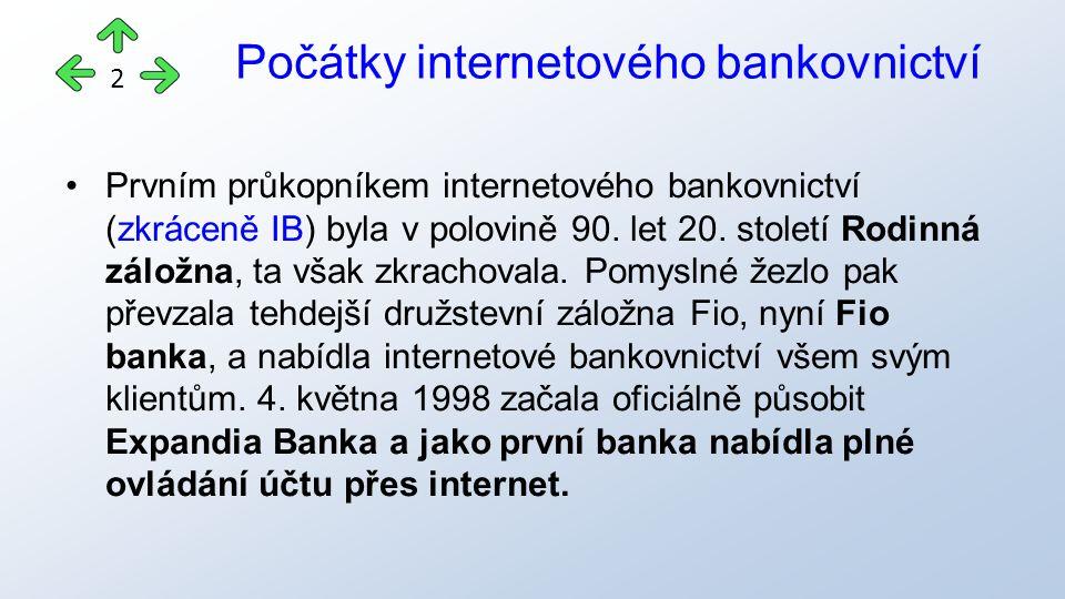 Přehled všech bank s internetovým bankovnictvím Air Bank AXA Bank Europe Citibank Europe Commerzbank Česká národní banka Česká spořitelna Československá obchodní banka Era/Poštovní spořitelna Equa bank Evropsko-ruská banka Fio banka GE Money Bank ING Bank Komerční banka LBBW Bank mBank (BRE BANK) PPF banka Raiffeisenbank Raiffeisenbank im Stiftland UniCredit Bank Volksbank Waldviertler Sparkasse von 1842 Zuno Bank 13