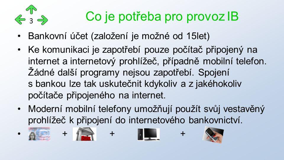 Bankovní účet (založení je možné od 15let) Ke komunikaci je zapotřebí pouze počítač připojený na internet a internetový prohlížeč, případně mobilní telefon.