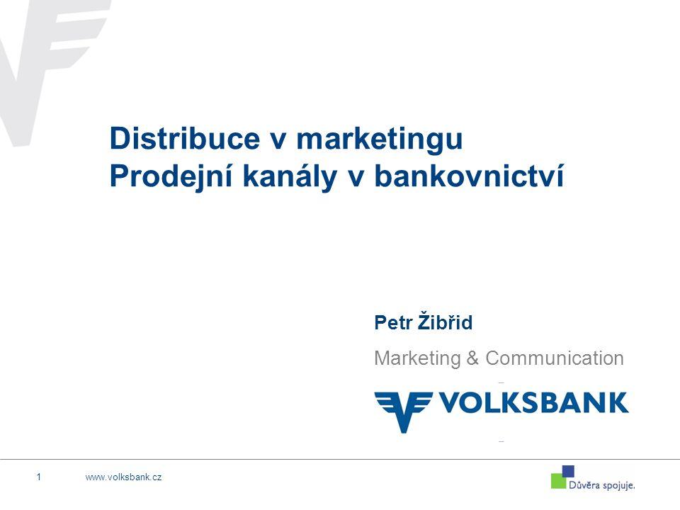www.volksbank.cz12 TYPY prodejních kanálů v bankách pobočkadirect mail internet banking www stránky call centra přímý prodej ext.
