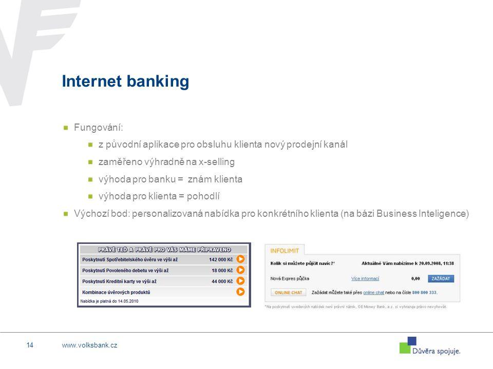 www.volksbank.cz14 Internet banking Fungování: z původní aplikace pro obsluhu klienta nový prodejní kanál zaměřeno výhradně na x-selling výhoda pro ba
