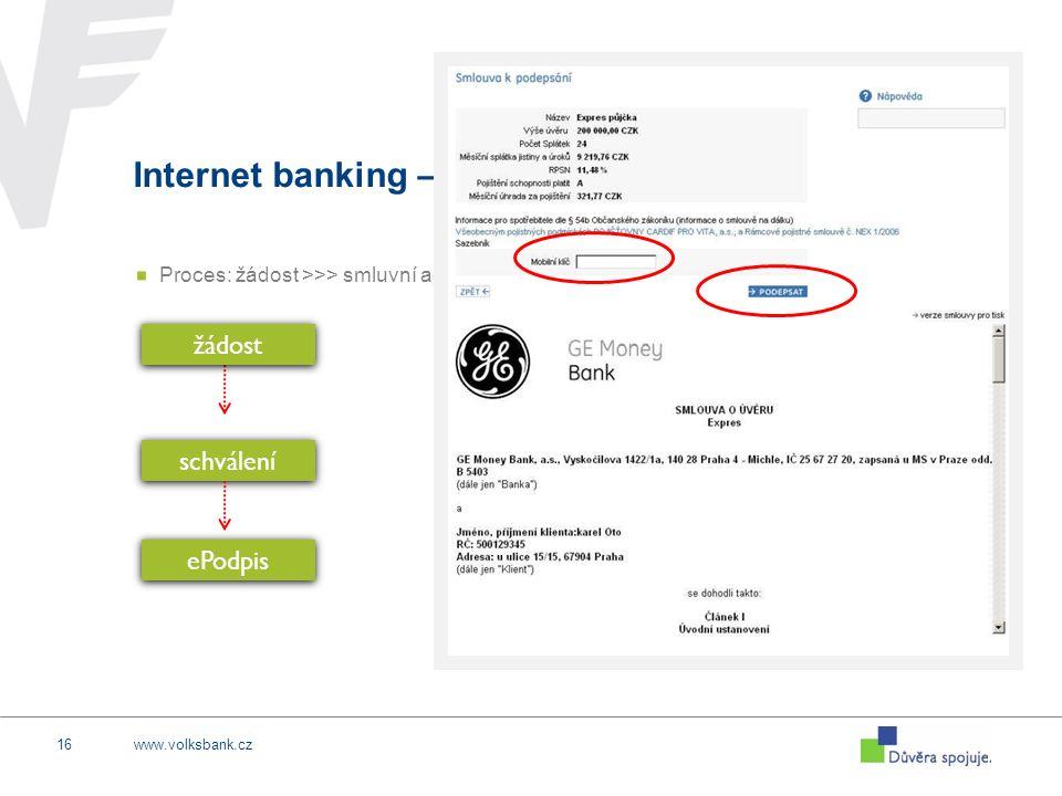 www.volksbank.cz16 Internet banking – FULL SALE Proces: žádost >>> smluvní agenda on-line žádost schválení ePodpis