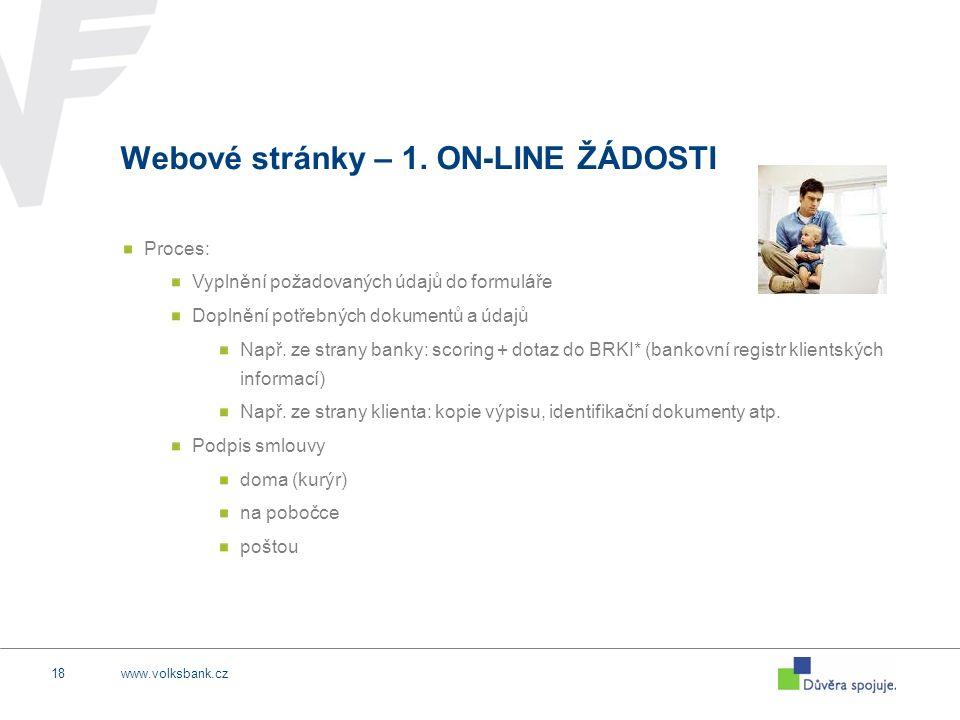www.volksbank.cz18 Webové stránky – 1. ON-LINE ŽÁDOSTI Proces: Vyplnění požadovaných údajů do formuláře Doplnění potřebných dokumentů a údajů Např. ze