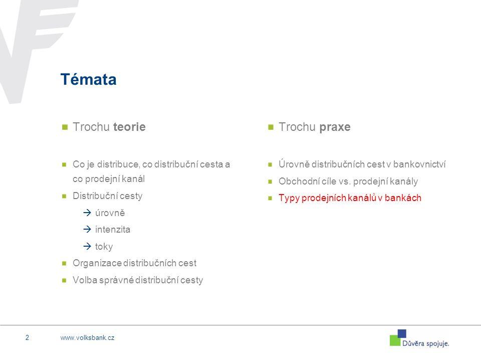 www.volksbank.cz13 POBOČKY (… a jim podobné) Standardní bankovní pobočka Odklon od větších prostorů k menším Plná obsluha klienta Vysoké náklady Prodejní kapacita je ovlivněna obsluhou klienta Nové formy a obdoby poboček Poštovní přepážka Kiosek / Mobilní pobočka Pobočka v supermarketu Franšíza