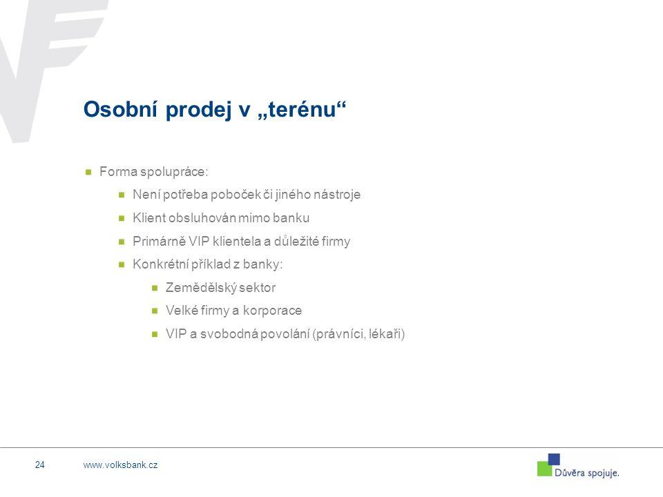"""www.volksbank.cz24 Osobní prodej v """"terénu"""" Forma spolupráce: Není potřeba poboček či jiného nástroje Klient obsluhován mimo banku Primárně VIP klient"""