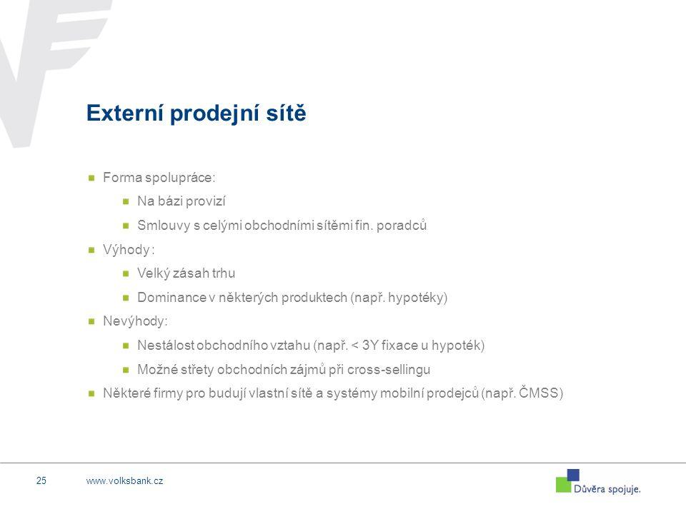 www.volksbank.cz25 Externí prodejní sítě Forma spolupráce: Na bázi provizí Smlouvy s celými obchodními sítěmi fin. poradců Výhody : Velký zásah trhu D