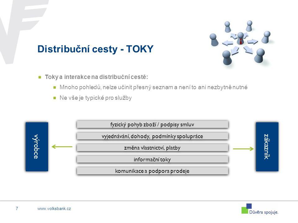 www.volksbank.cz7 Distribuční cesty - TOKY Toky a interakce na distribuční cestě: Mnoho pohledů, nelze učinit přesný seznam a není to ani nezbytně nutné Ne vše je typické pro služby výrobce zákazník fyzický pohyb zboží / podpisy smluv vyjednávání, dohody, podmínky spolupráce změna vlastnictví, platby informační toky komunikace a podpora prodeje