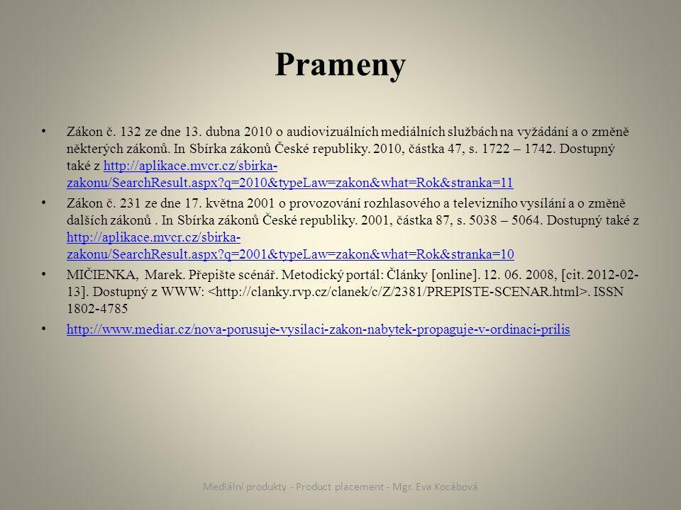 Prameny Zákon č. 132 ze dne 13. dubna 2010 o audiovizuálních mediálních službách na vyžádání a o změně některých zákonů. In Sbírka zákonů České republ