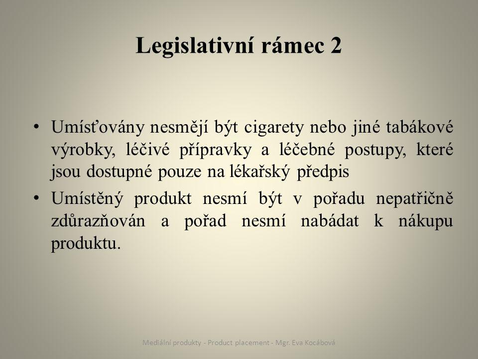Legislativní rámec 2 Umísťovány nesmějí být cigarety nebo jiné tabákové výrobky, léčivé přípravky a léčebné postupy, které jsou dostupné pouze na léka