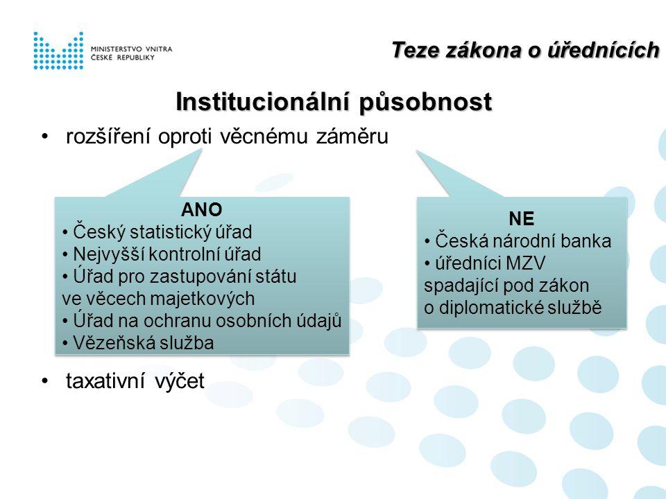 Teze zákona o úřednících Institucionální působnost rozšíření oproti věcnému záměru taxativní výčet ANO Český statistický úřad Nejvyšší kontrolní úřad