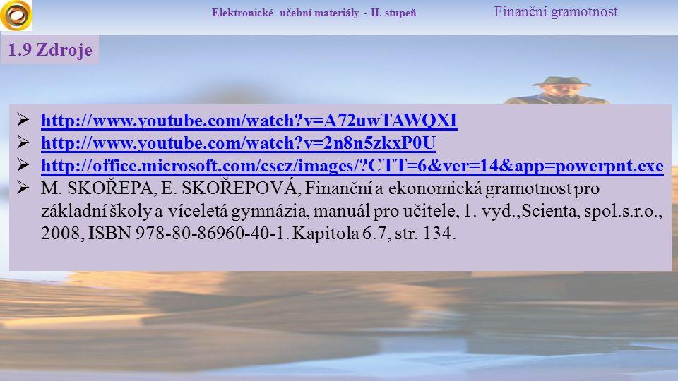 Elektronické učební materiály - II. stupeň Finanční gramotnost 1.9 Zdroje  http://www.youtube.com/watch?v=A72uwTAWQXI http://www.youtube.com/watch?v=