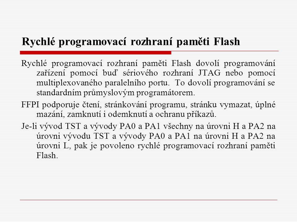 Rychlé programovací rozhraní paměti Flash Rychlé programovací rozhraní paměti Flash dovolí programování zařízení pomocí buď sériového rozhraní JTAG nebo pomocí multiplexovaného paralelního portu.