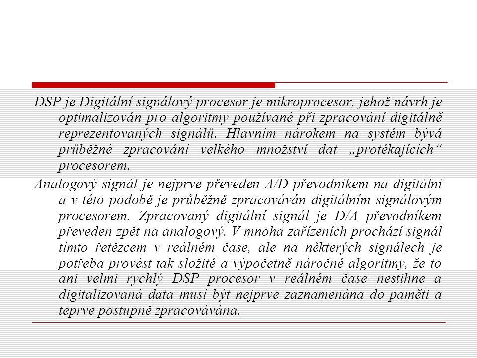 DSP je Digitální signálový procesor je mikroprocesor, jehož návrh je optimalizován pro algoritmy používané při zpracování digitálně reprezentovaných signálů.