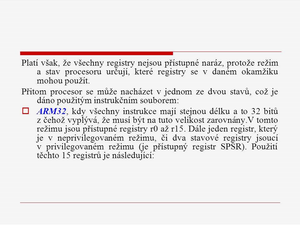 Platí však, že všechny registry nejsou přístupné naráz, protože režim a stav procesoru určují, které registry se v daném okamžiku mohou použít.