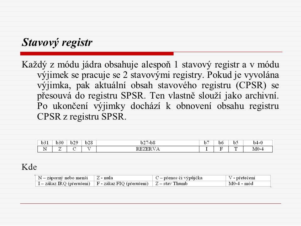 Stavový registr Každý z módu jádra obsahuje alespoň 1 stavový registr a v módu výjimek se pracuje se 2 stavovými registry.