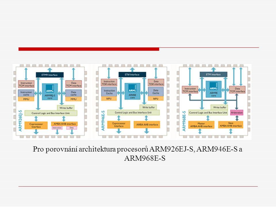 Pro porovnání architektura procesorů ARM926EJ-S, ARM946E-S a ARM968E-S