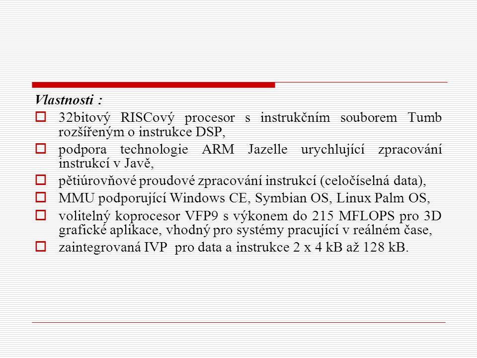 Vlastnosti :  32bitový RISCový procesor s instrukčním souborem Tumb rozšířeným o instrukce DSP,  podpora technologie ARM Jazelle urychlující zpracování instrukcí v Javě,  pětiúrovňové proudové zpracování instrukcí (celočíselná data),  MMU podporující Windows CE, Symbian OS, Linux Palm OS,  volitelný koprocesor VFP9 s výkonem do 215 MFLOPS pro 3D grafické aplikace, vhodný pro systémy pracující v reálném čase,  zaintegrovaná IVP pro data a instrukce 2 x 4 kB až 128 kB.