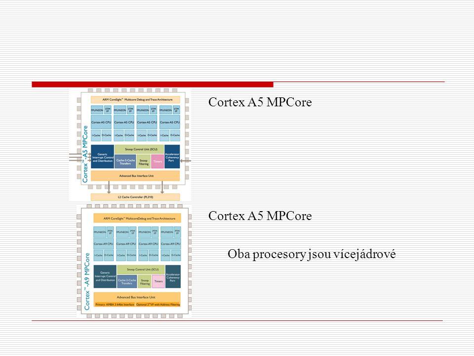 Cortex A5 MPCore Oba procesory jsou vícejádrové
