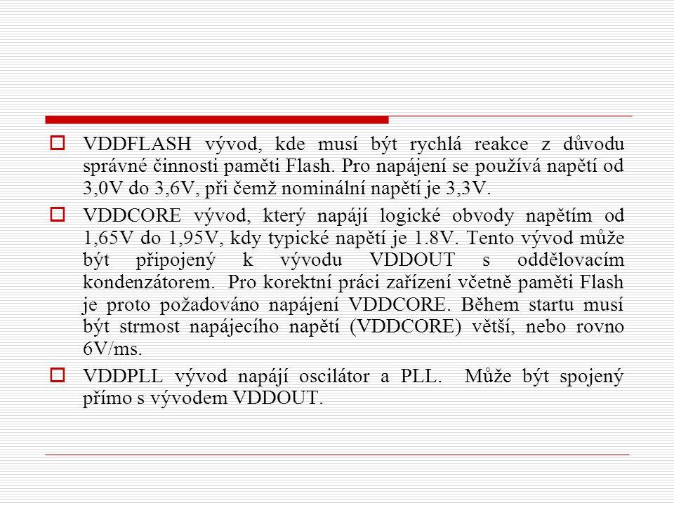  VDDFLASH vývod, kde musí být rychlá reakce z důvodu správné činnosti paměti Flash.
