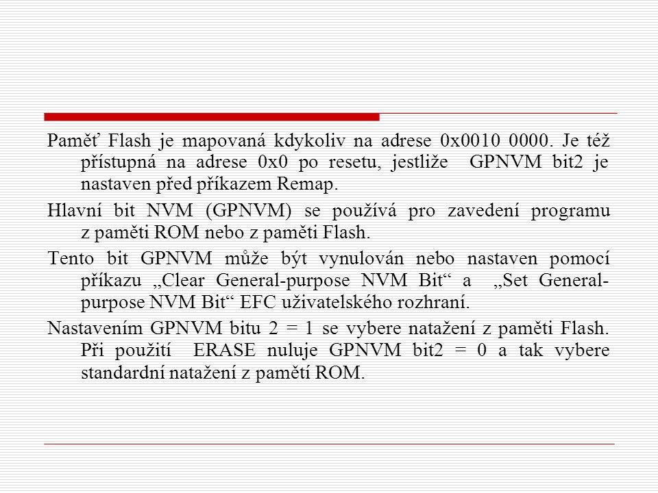 Paměť Flash je mapovaná kdykoliv na adrese 0x0010 0000.