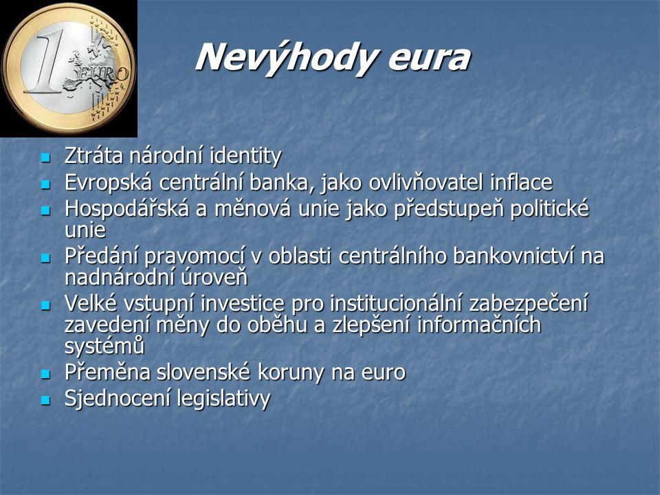 Nevýhody eura Ztráta národní identity Ztráta národní identity Evropská centrální banka, jako ovlivňovatel inflace Evropská centrální banka, jako ovlivňovatel inflace Hospodářská a měnová unie jako předstupeň politické unie Hospodářská a měnová unie jako předstupeň politické unie Předání pravomocí v oblasti centrálního bankovnictví na nadnárodní úroveň Předání pravomocí v oblasti centrálního bankovnictví na nadnárodní úroveň Velké vstupní investice pro institucionální zabezpečení zavedení měny do oběhu a zlepšení informačních systémů Velké vstupní investice pro institucionální zabezpečení zavedení měny do oběhu a zlepšení informačních systémů Přeměna slovenské koruny na euro Přeměna slovenské koruny na euro Sjednocení legislativy Sjednocení legislativy