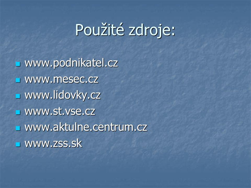 Použité zdroje: www.podnikatel.cz www.podnikatel.cz www.mesec.cz www.mesec.cz www.lidovky.cz www.lidovky.cz www.st.vse.cz www.st.vse.cz www.aktulne.centrum.cz www.aktulne.centrum.cz www.zss.sk www.zss.sk