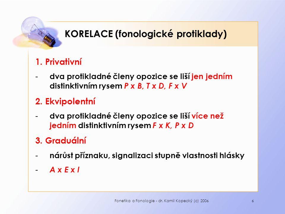 6 KORELACE (fonologické protiklady) 1.