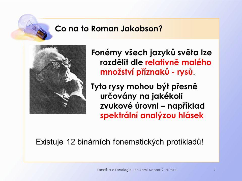 Fonetika a Fonologie - dr. Kamil Kopecký (c) 20067 Co na to Roman Jakobson.