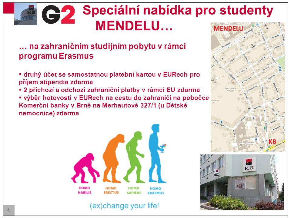 4 Speciální nabídka pro studenty MENDELU… … na zahraničním studijním pobytu v rámci programu Erasmus  druhý účet se samostatnou platební kartou v EUR