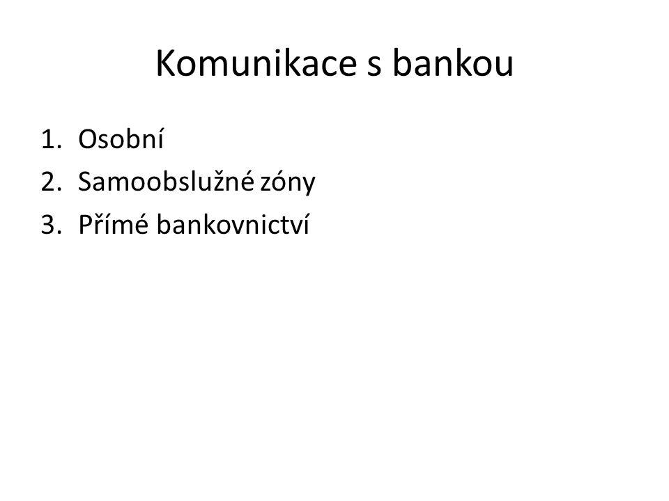 Komunikace s bankou 1.Osobní 2.Samoobslužné zóny 3.Přímé bankovnictví