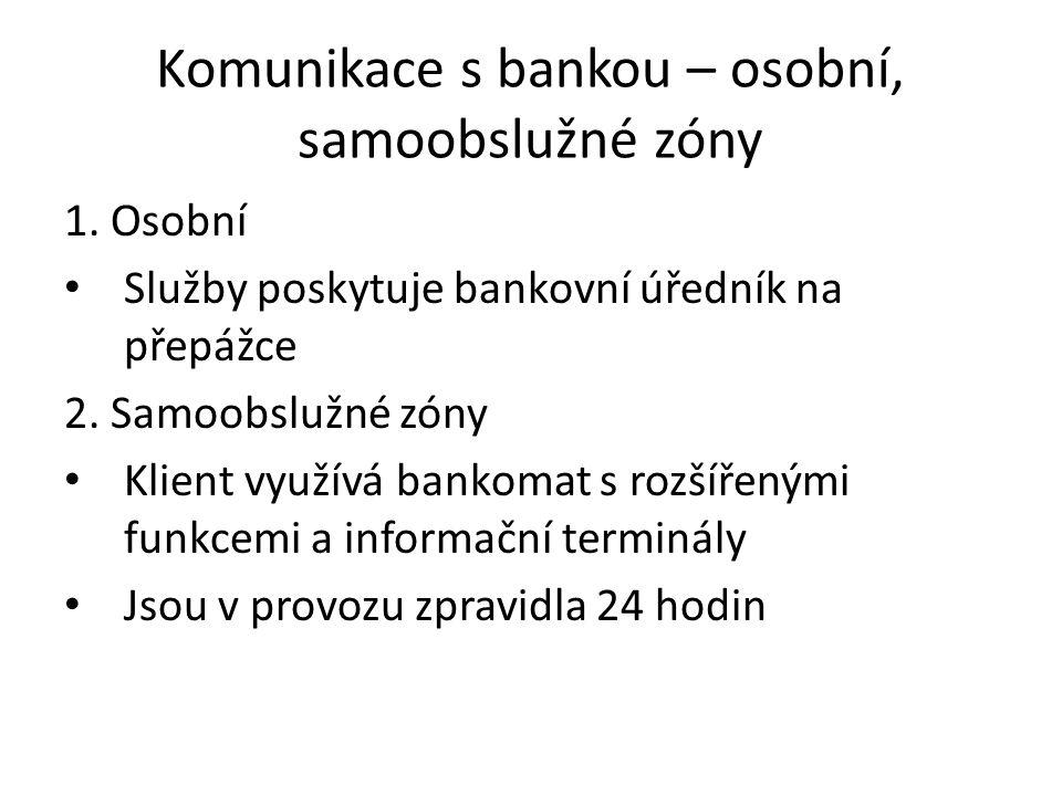 Komunikace s bankou – osobní, samoobslužné zóny 1.