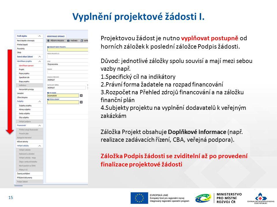 Vyplnění projektové žádosti I.