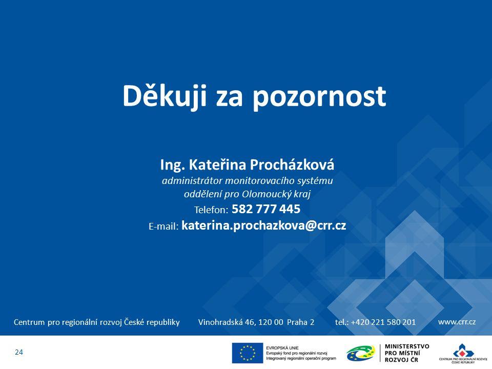 Centrum pro regionální rozvoj České republikyVinohradská 46, 120 00 Praha 2tel.: +420 221 580 201 www.crr.cz 24 Děkuji za pozornost Ing.
