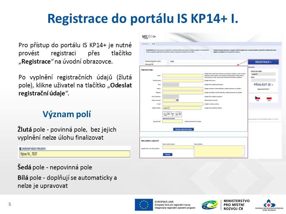 Registrace do portálu IS KP14+ I.