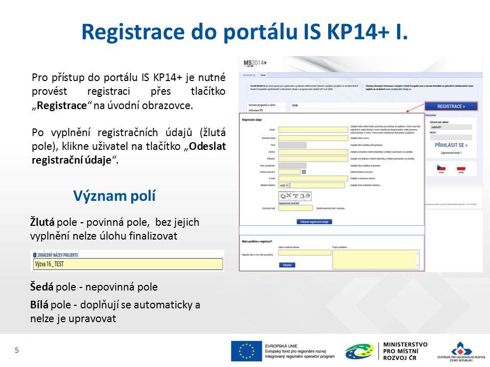 Registrace do portálu IS KP14+ II.