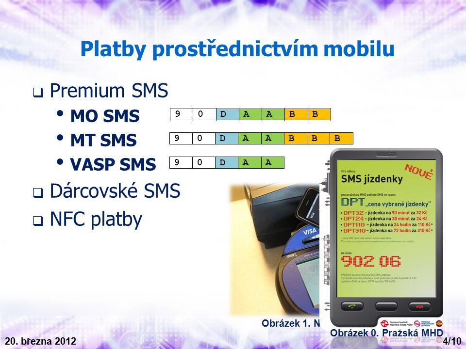 Platby prostřednictvím mobilu  Premium SMS MO SMS MT SMS VASP SMS  Dárcovské SMS  NFC platby Obrázek 1.