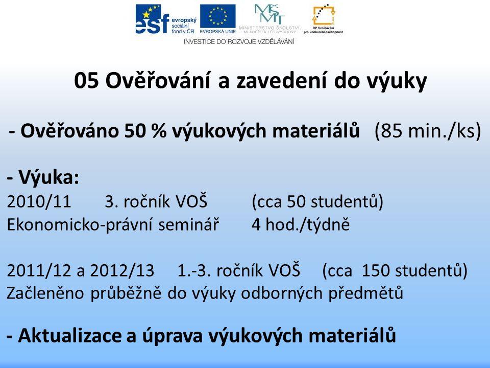 05 Ověřování a zavedení do výuky - Výuka: 2010/11 3. ročník VOŠ (cca 50 studentů) Ekonomicko-právní seminář 4 hod./týdně 2011/12 a 2012/13 1.-3. roční