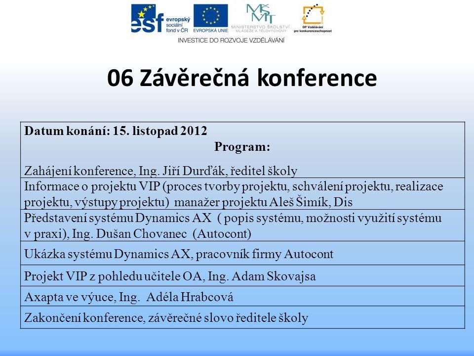 06 Závěrečná konference Datum konání: 15. listopad 2012 Program: Zahájení konference, Ing. Jiří Durďák, ředitel školy Informace o projektu VIP (proces