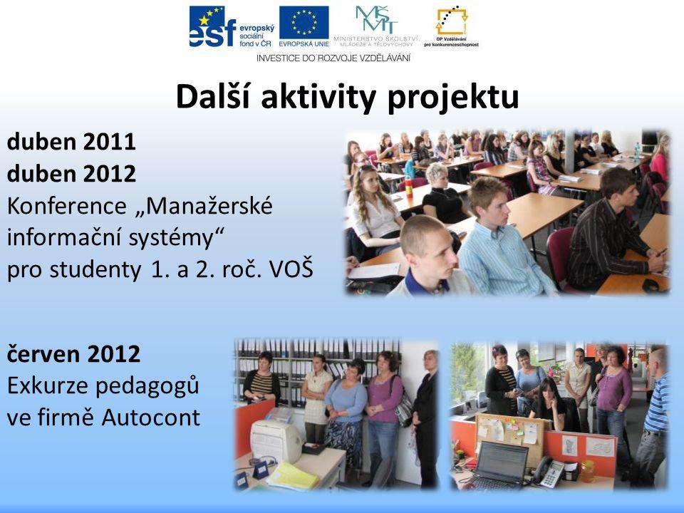 """Další aktivity projektu duben 2011 duben 2012 Konference """"Manažerské informační systémy"""" pro studenty 1. a 2. roč. VOŠ červen 2012 Exkurze pedagogů ve"""
