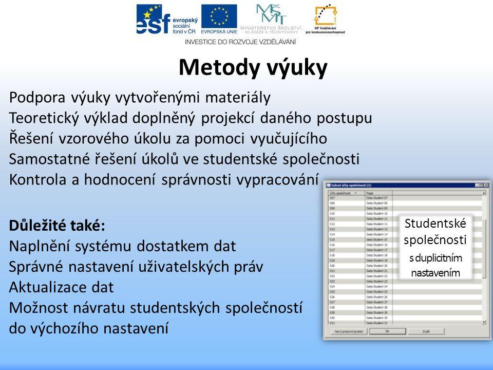Důležité také: Naplnění systému dostatkem dat Správné nastavení uživatelských práv Aktualizace dat Možnost návratu studentských společností do výchozí