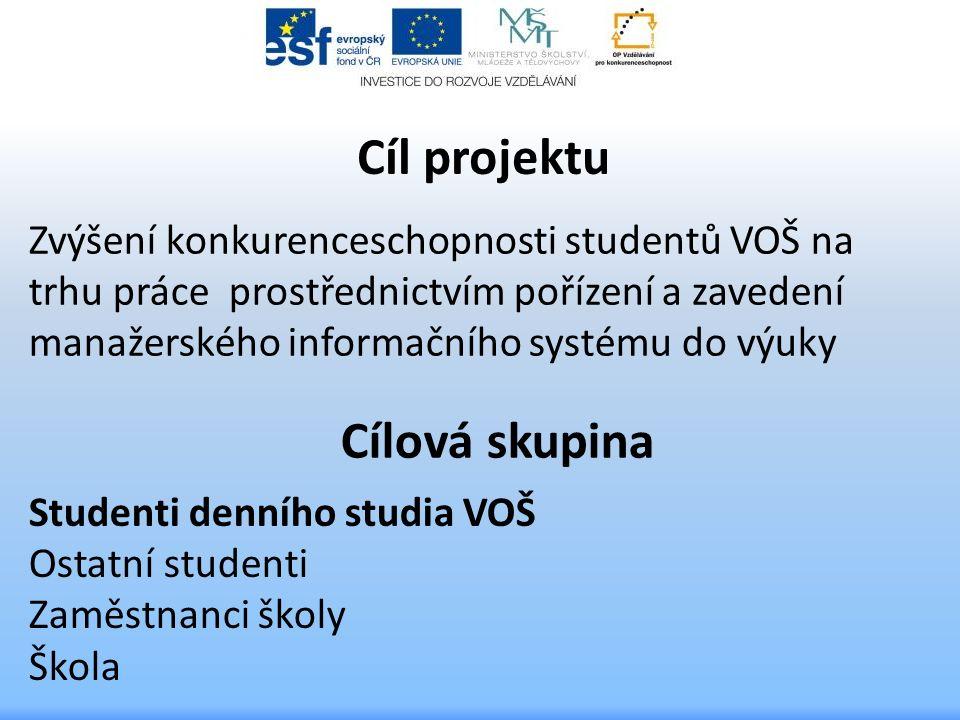 Cíl projektu Zvýšení konkurenceschopnosti studentů VOŠ na trhu práce prostřednictvím pořízení a zavedení manažerského informačního systému do výuky Cí