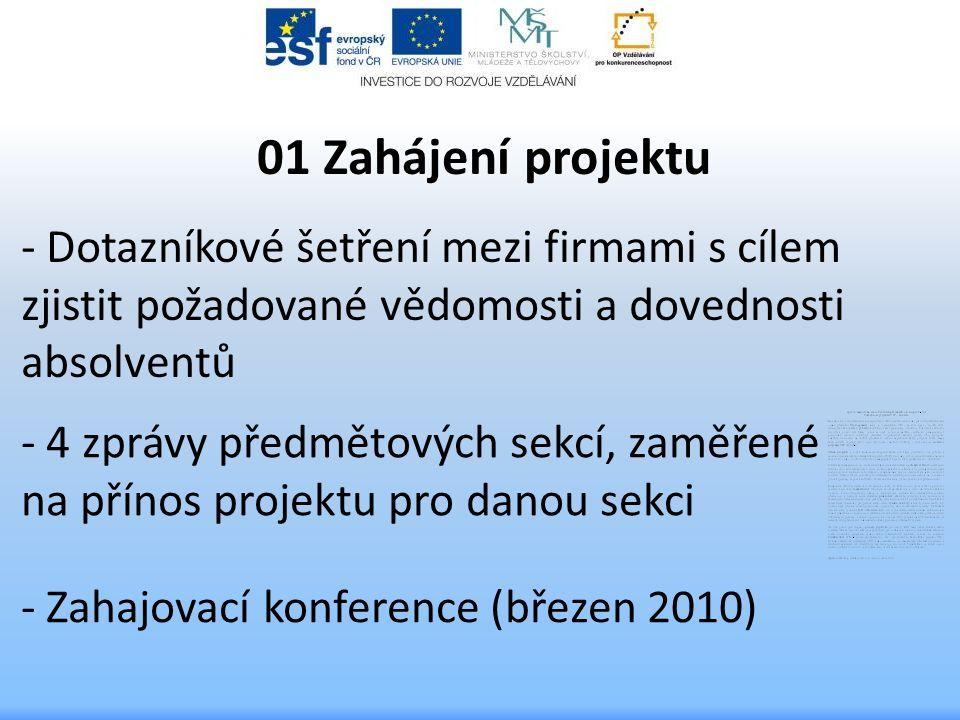 - Dotazníkové šetření mezi firmami s cílem zjistit požadované vědomosti a dovednosti absolventů 01 Zahájení projektu - 4 zprávy předmětových sekcí, zaměřené na přínos projektu pro danou sekci - Zahajovací konference (březen 2010)