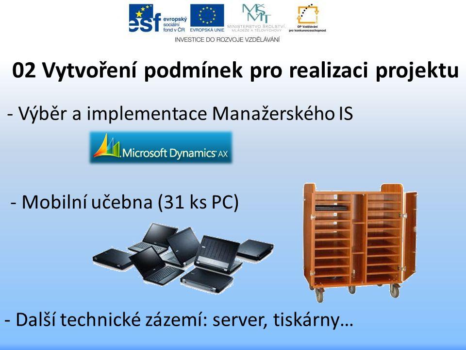 - Výběr a implementace Manažerského IS 02 Vytvoření podmínek pro realizaci projektu - Mobilní učebna (31 ks PC) - Další technické zázemí: server, tisk